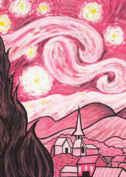 Pink Starry Night Art | a.dawn art