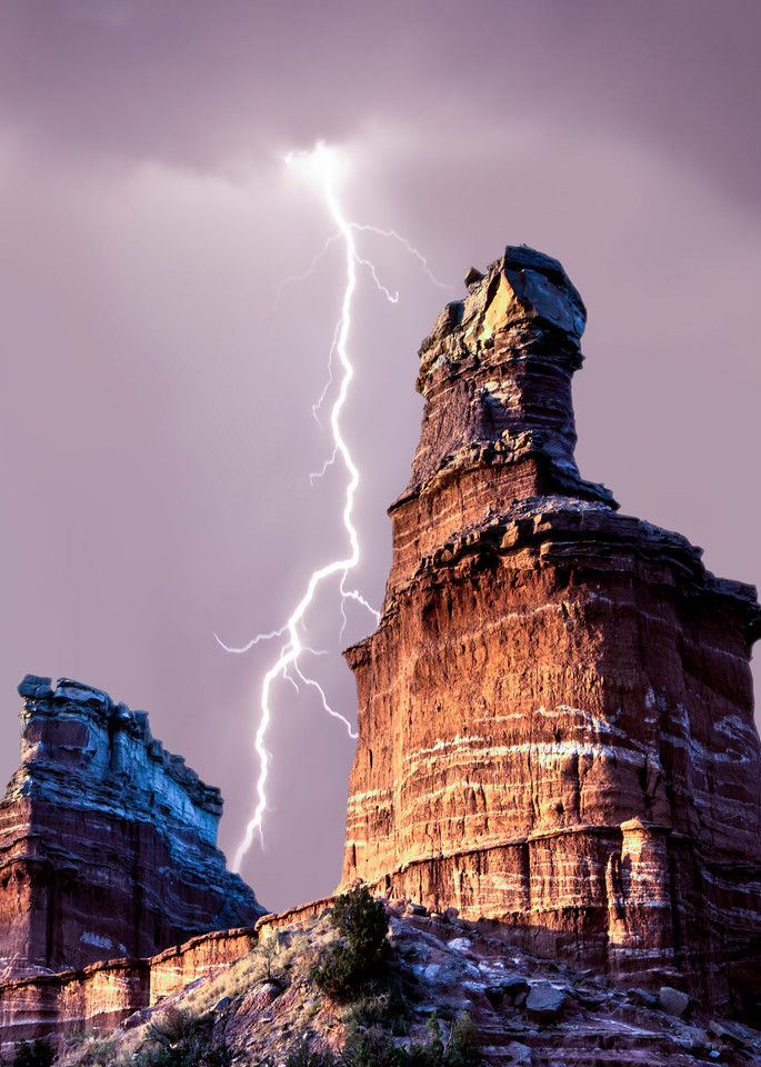 Lightning up the Lighthouse in Palo Duro