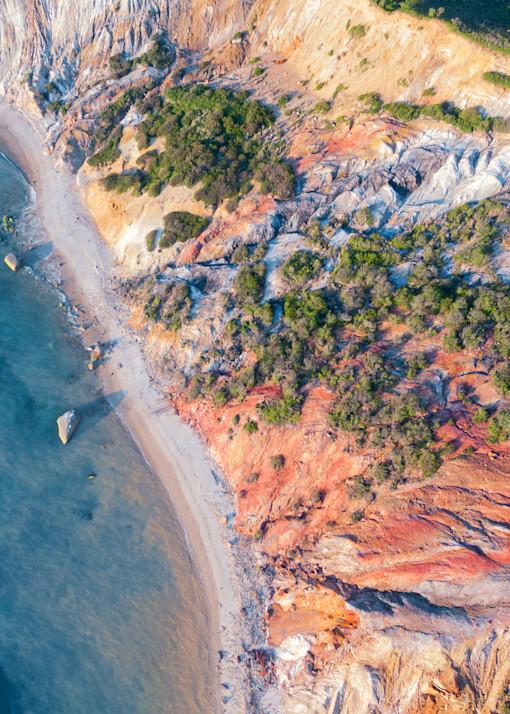 """""""Over Gay Head Bluffs"""" Aquinnah Martha's Vineyard Aerial Fine Art Beach Coastal Cliffs Photograph"""