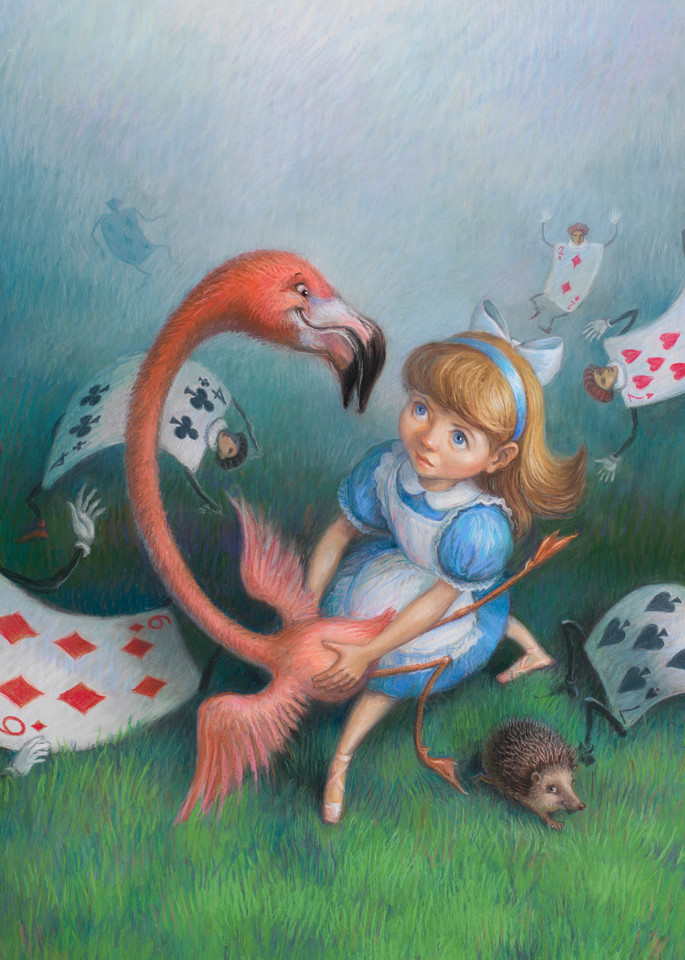 Alice in Wonderland pastel drawing print