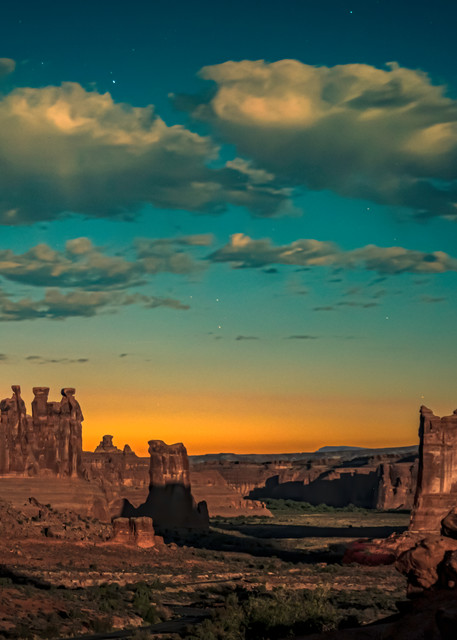 Moon Rise at Sunset-Arches National Park