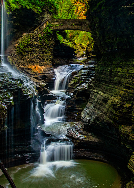 Watkins Glen Gorge Rainbow Falls overlook photography prints