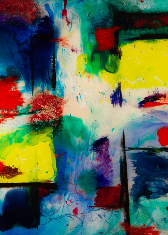 My Colors, a vivid abstract showing the influence of artist Hans Hoffman.