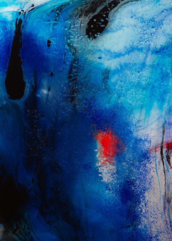 I Can Melt Your Icy Heart, blue and silver abstract painting