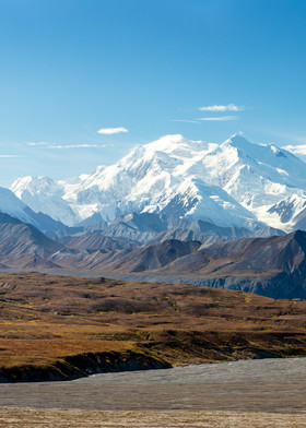 Composite panorama of Denali (formerly Mt. McKinley) from Thorofare Pass in Denali National Park in Interior Alaska. Autumn. Afternoon.