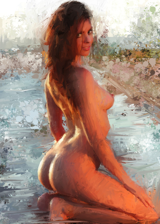 Kneeling at the Beach by Eric Wallis.