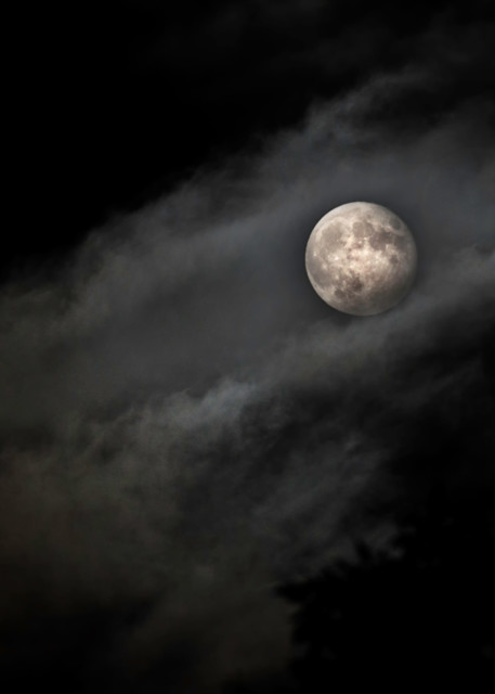 Full Moon Shrouded In Clouds Art   Drew Campbell Photography