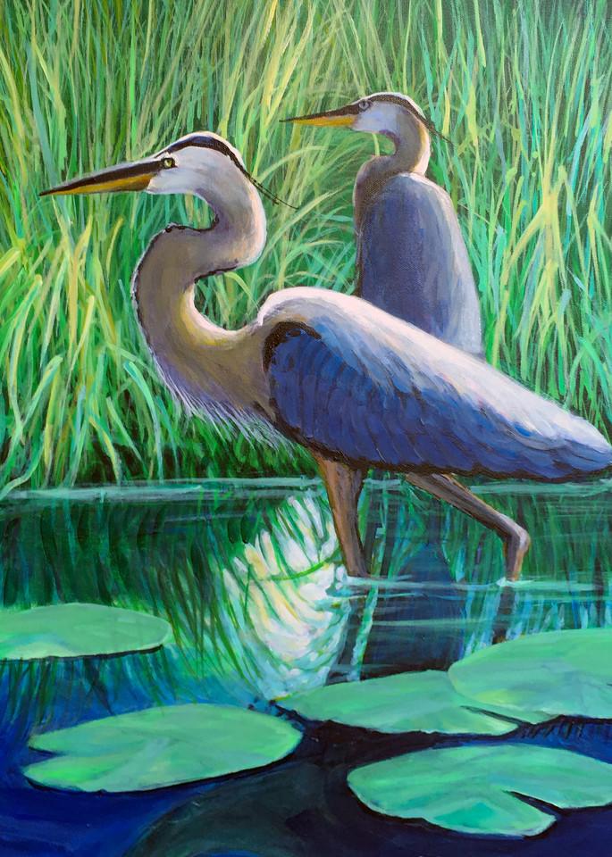 Two Great Blue Herons Art | Charles Wallis