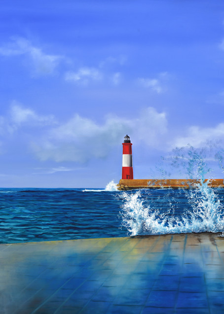 Pier View Of Lighthouse Art | MMG Art Studio | Fine Art Colorado Gallery