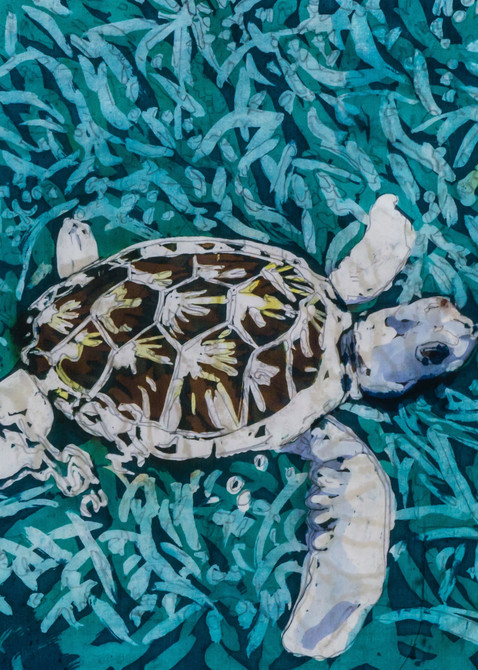 """""""Tortuga Blanca """"is a painting by artist Muffy Clark Gill .It is created using the rozome (batik) process on silk and measures16 x 20 in."""
