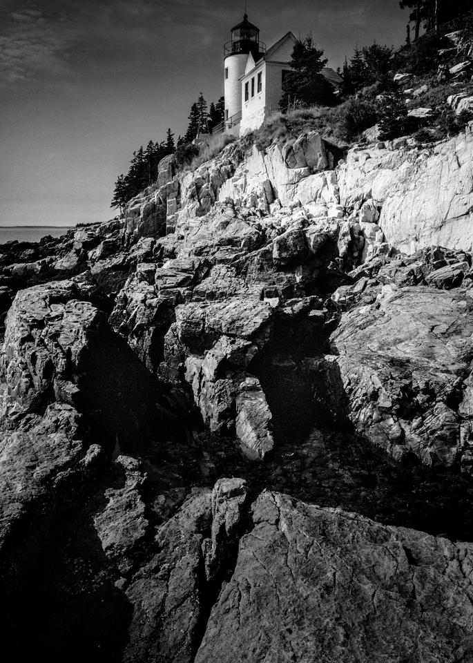 Fine Art Print | Bass Harbor Head Lighthouse in B&W