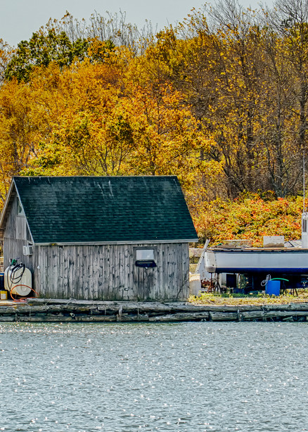 Boothbay Fall Lobster Boat Art | Michael Blanchard Inspirational Photography - Crossroads Gallery