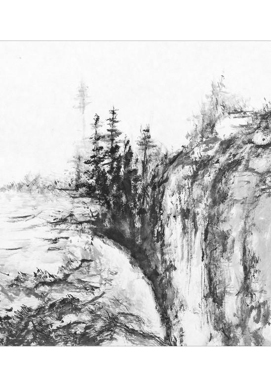 sumi-e, mountains, black, ink, hombretheartist