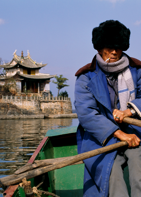 Rowing To Temple, Dai Lake, China, 1992.  Photography Art | Tom Stahl Photography