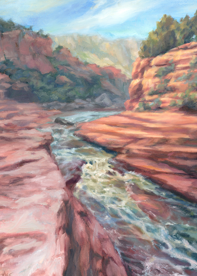 Slide Rock - purchase prints of this sedona oil painting by Ans Taylor