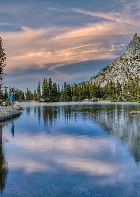 Hiker At Upper Cathedral Lake, Yosemite, 2019. Photography Art | Tom Stahl Photography