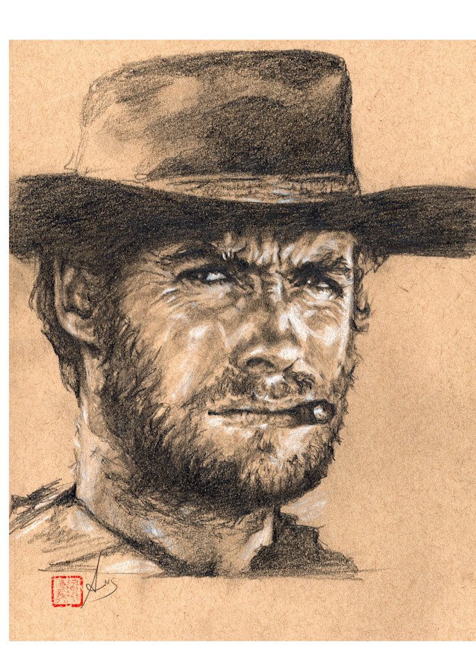 Clint Eastwood, pencil and charcoal on toned paper by Ans Taylor