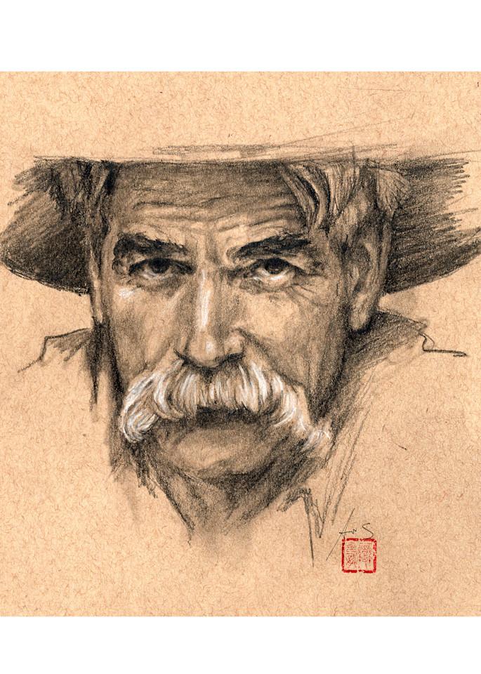 Sam Elliott, drawing by Ans Taylor