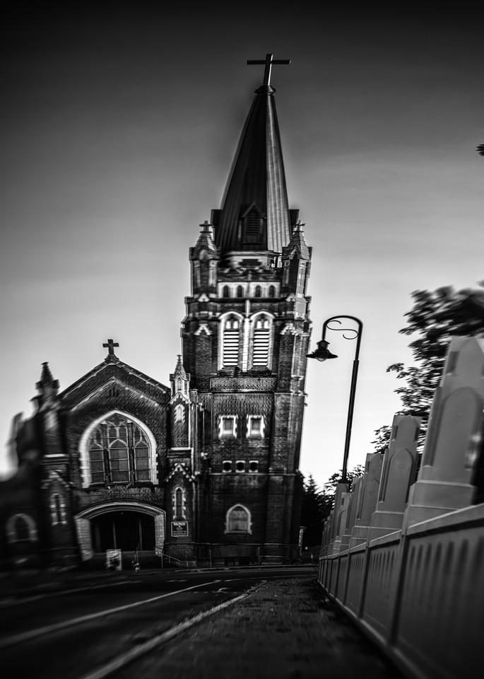 Fine art black and white image of Tacoma Landmark Holy Rosary Church