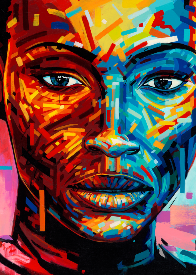 Woman, coloured skin, black, Afro, face, beautiful, Africa, art, Marnier, painting