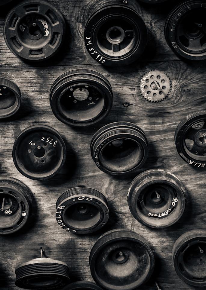 Scrap Yard Pully Wheels Photography Art | Dan Katz, Inc.