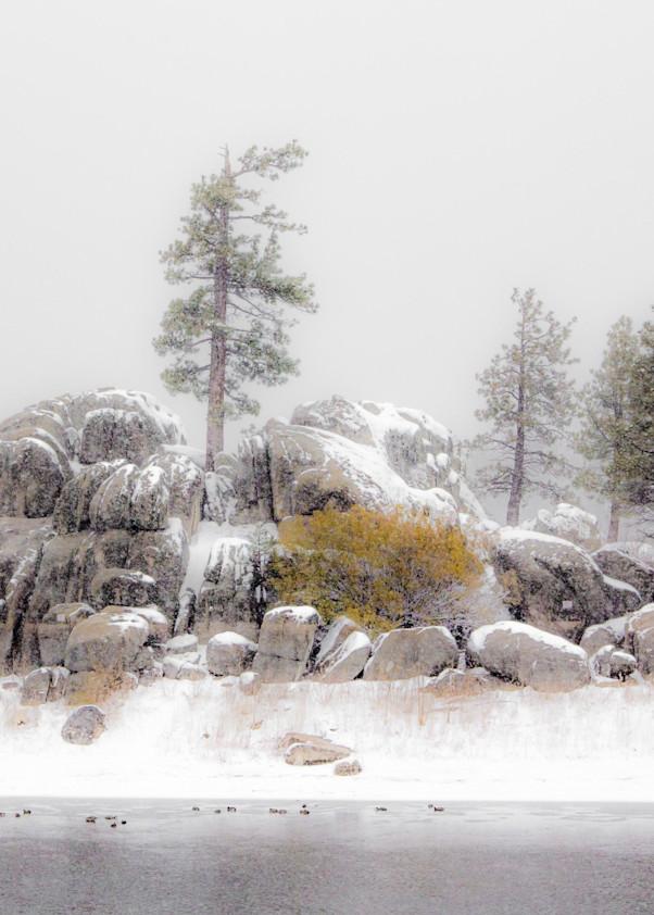 Rock Outcrop In Snow   Big Bear Photography Art | Dan Katz, Inc.
