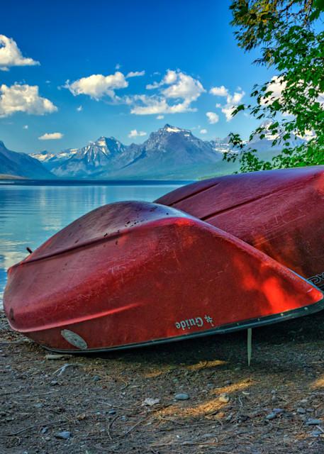 Red Canoes at Lake McDonald | Shop Photography by Rick Berk
