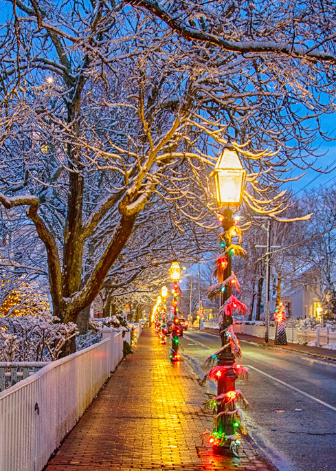 Edgartown Main Street Snow Art | Michael Blanchard Inspirational Photography - Crossroads Gallery