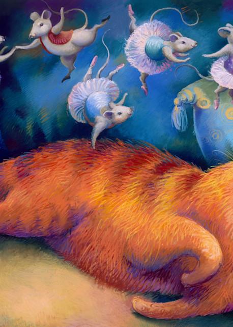 cat, ballet, dreams, pastel, painting