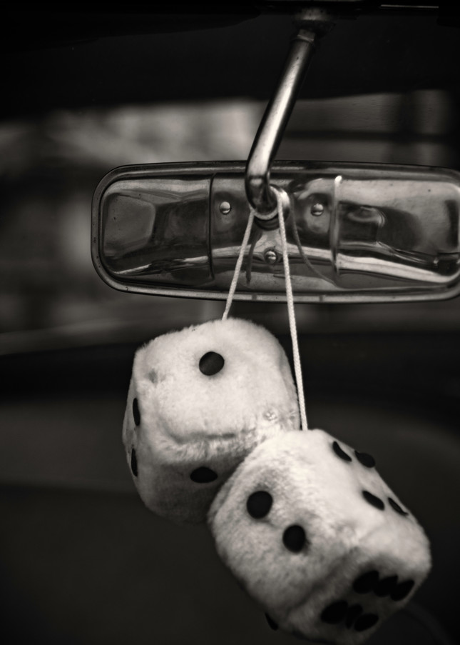 Black and White Photography of Fuzzy Dice