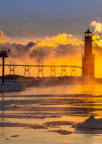 Frozen Sunrise, Algoma Pierhead Lighthouse Photography Art   brucedanz