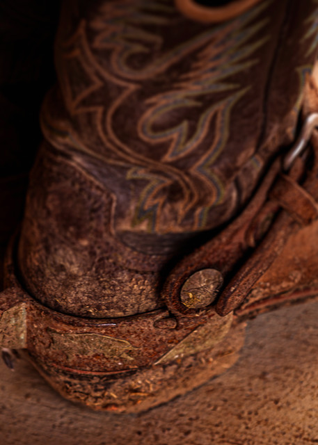 cowboy boots spurs weathered texture