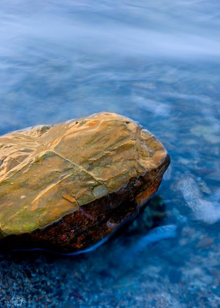 Single rock in the stream, Maine coast