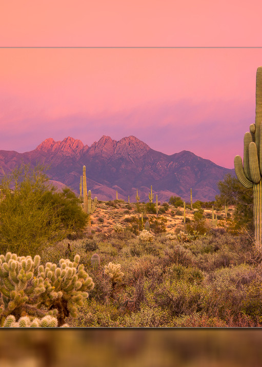 Four Peaks   Sunset Pink H 3 D Photography Art | Whispering Impressions