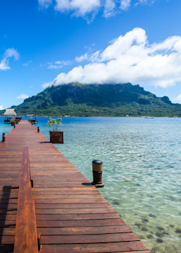 The Famous Bloody Mary's Bar on Bora Bora sits across from this dock in Tahiti.