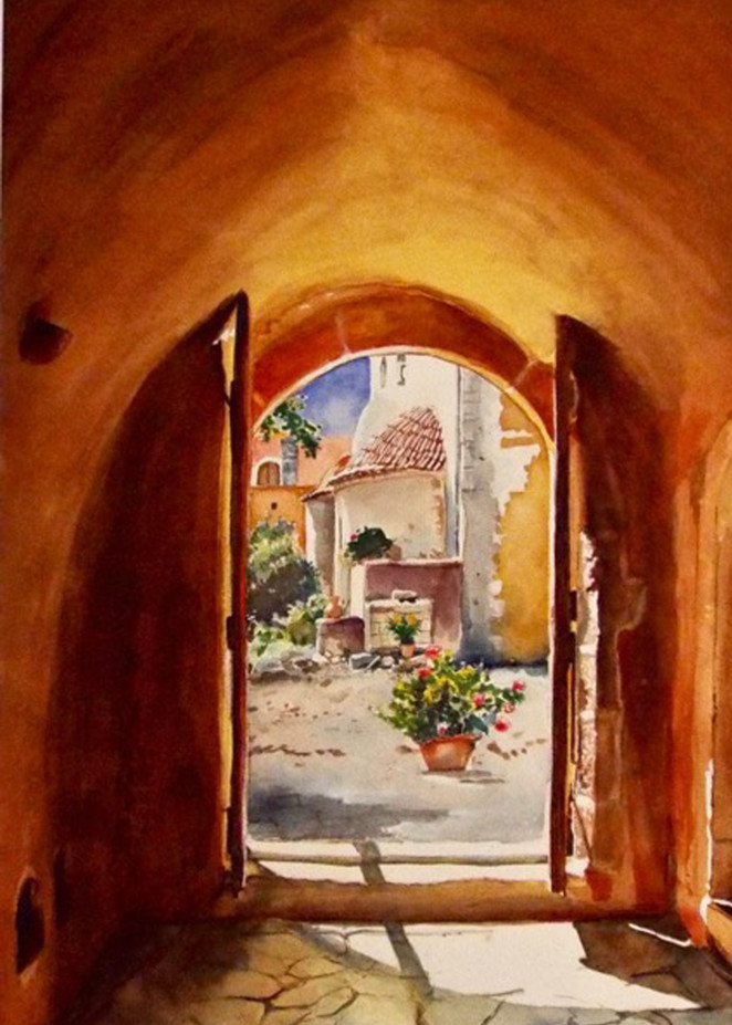 Arkadi Monastery Crete, From an Original Watercolor Painting