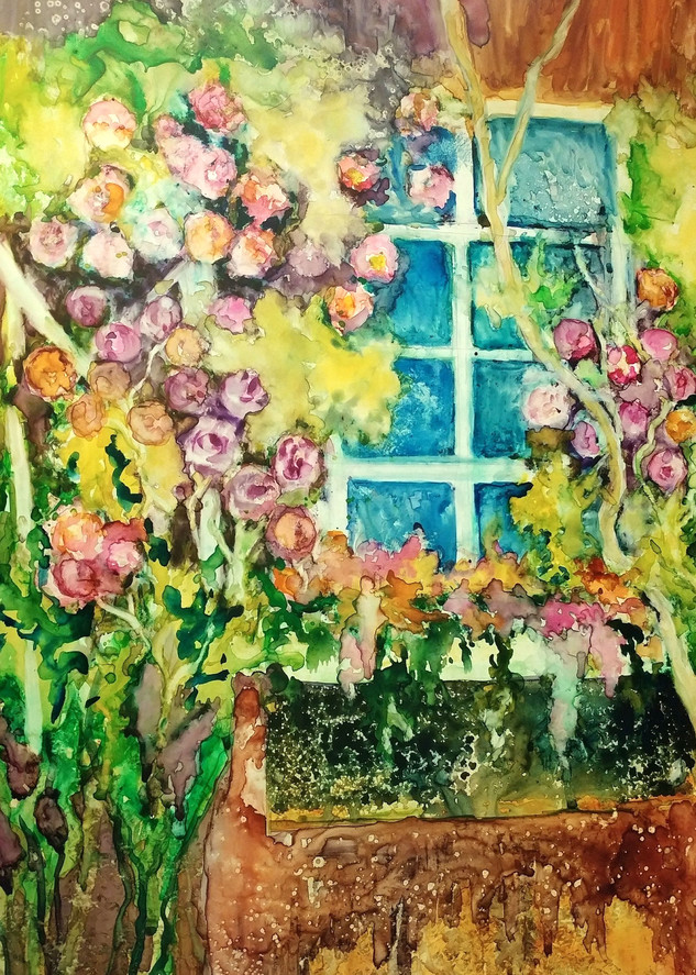 Climbing Roses, From an Original Watercolor Painting