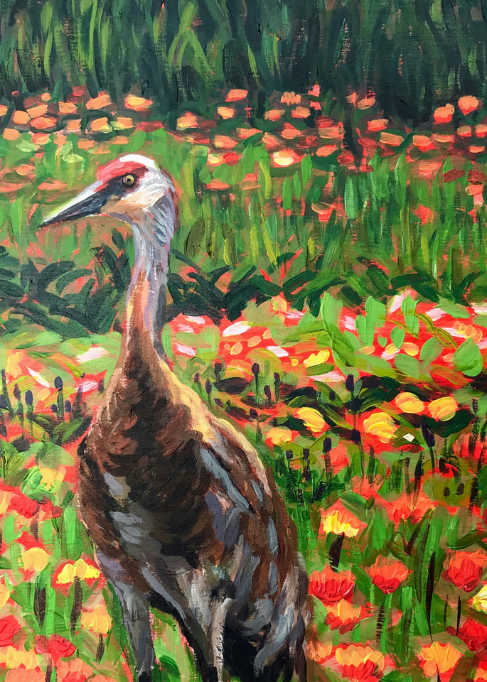 Red poppies and sandhill crane alaska art print, wildlife acrylic painting