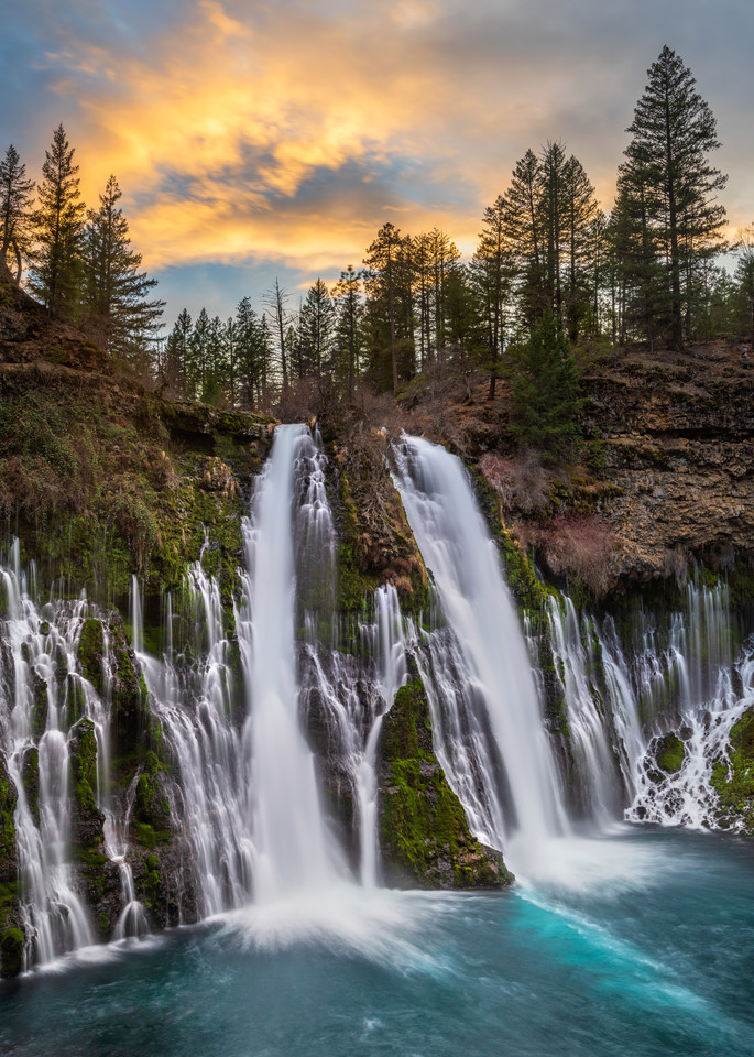 Sunset over Burney Falls, CA