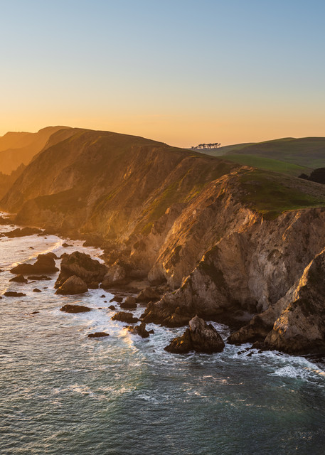 The sun sets over Point Reyes north of San Francisco, CA