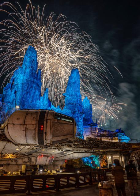 Fireworks and the Millennium Falcon - Star Wars Disneyland Photos