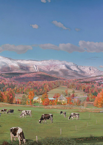 Sugarbush & Waitsfield Round Barn In Autumn Art   The Huntington Studio