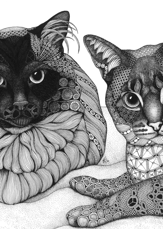 "Siamese Sisters Art | Kristin Moger ""Seriously Fun Art"""