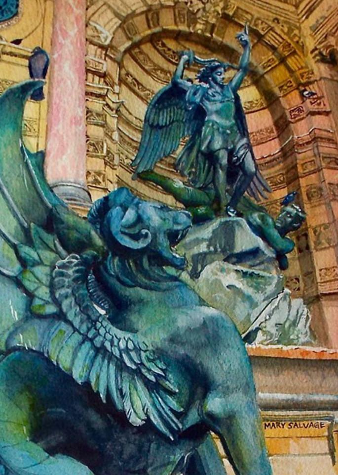 Fontaine Saint Michel Paris, From an Original Watercolor Painting