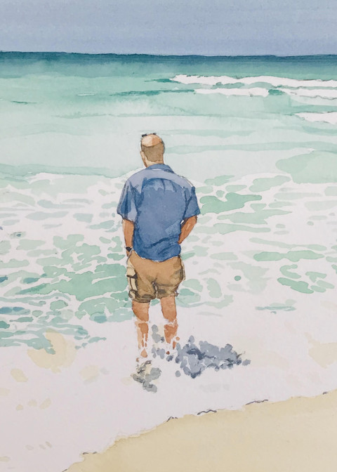 Steve at Pensacola, From an Original Watercolor Painting