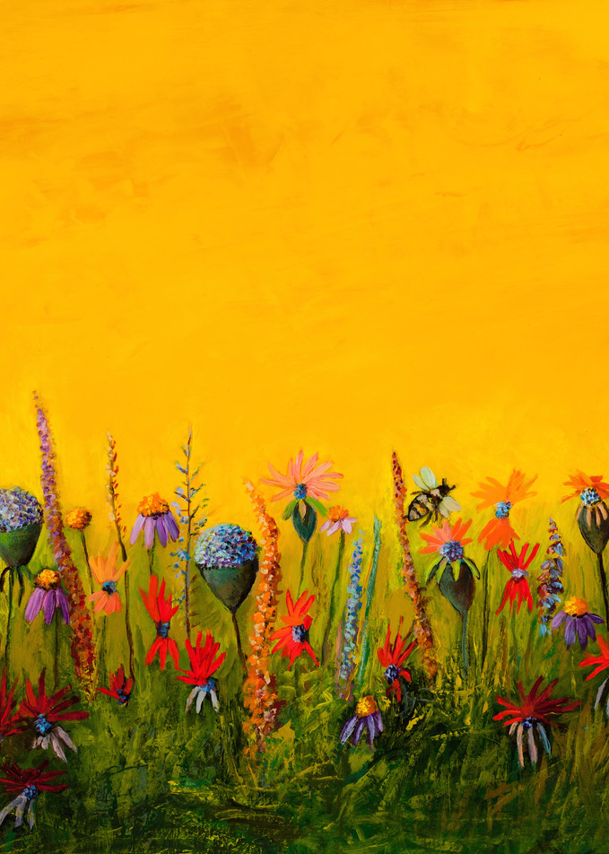 Wildflower & Bee Canvas Wall Art Prints
