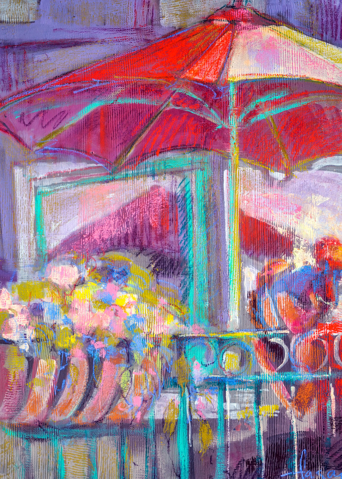 Cafe Scene Painting, Limited Edition Print by Dorothy Fagan