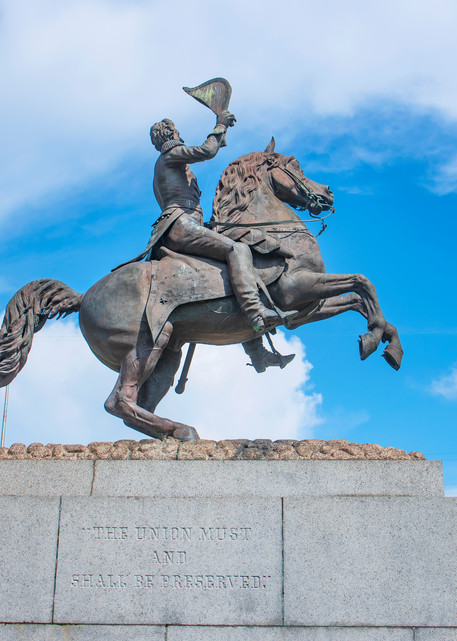 Behind Andrew Jackson's monument