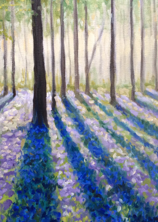 Spring Trees and Purple Flowers Fine Art Print by Hilary J England