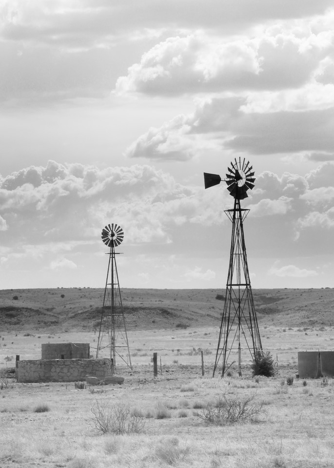 Two Windmills On The Prairie Photography Art | Galeria Mañana
